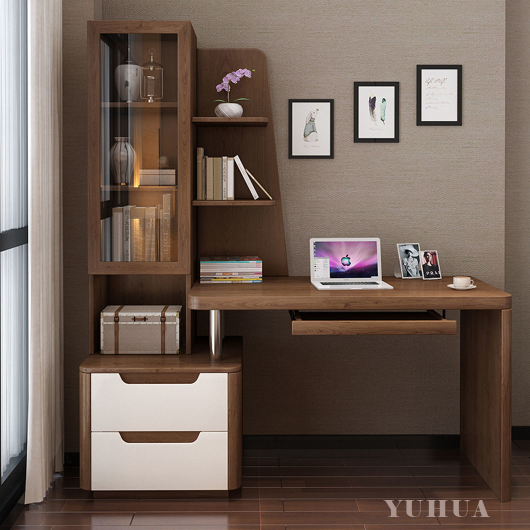 Hot Item Nordic Furniture Solid Wood Desk Bookcase With Glass Yh Wd6004