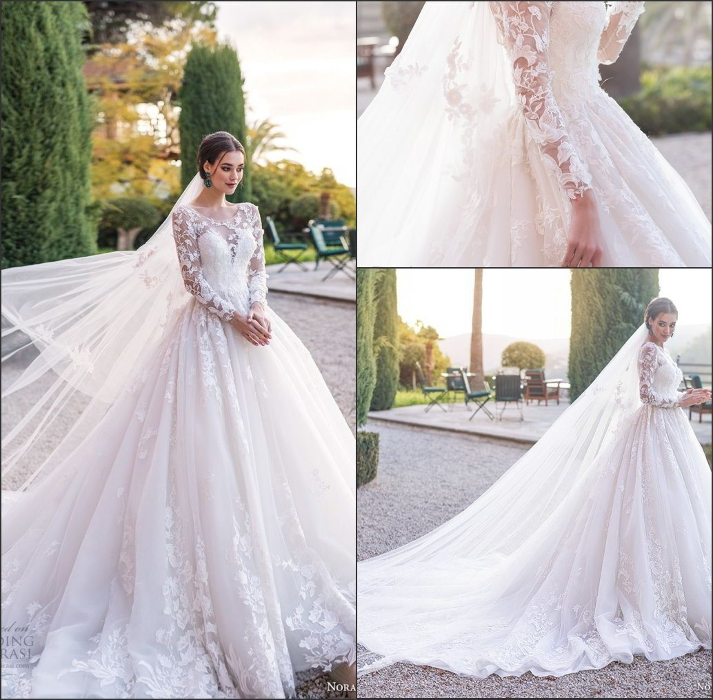 Lace Wedding Dress With Sleeves.Hot Item Long Sleeves Wedding Dress Custom Made Lace Princess Bridal Dresses Mg560