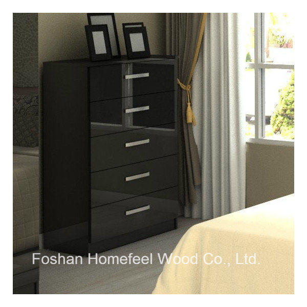 China High Glossy Black Bedroom Storage Cabinet 5 Drawer ...