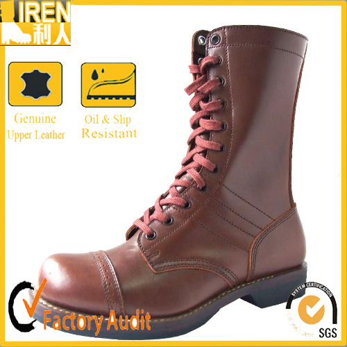 [Hot Item] Mens Brown Genuine Leather Combat Boots