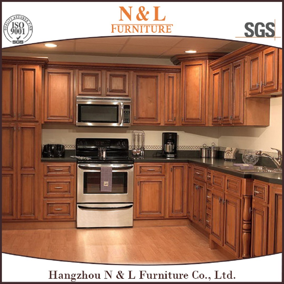 [Hot Item] American Style Red Cherry Solid Wood Kitchen Cabinets