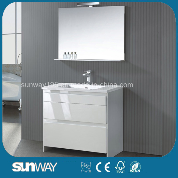 Hot Sell White Single Sink MDF Bathroom Cabinet with Mirror Sw-1520 pictures & photos