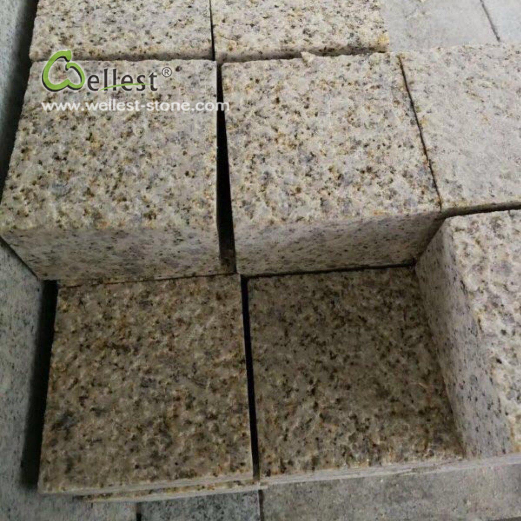 China Rustic Yellow Cobblestone Paving Granite Stone 10X10X5cm Bush Hammered