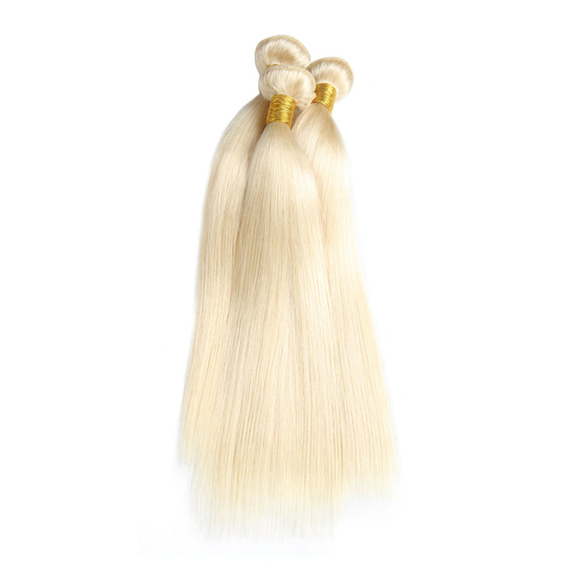 China Peruvian Straight Hair Weave 613 Blonde Non Remy Hair Bundles