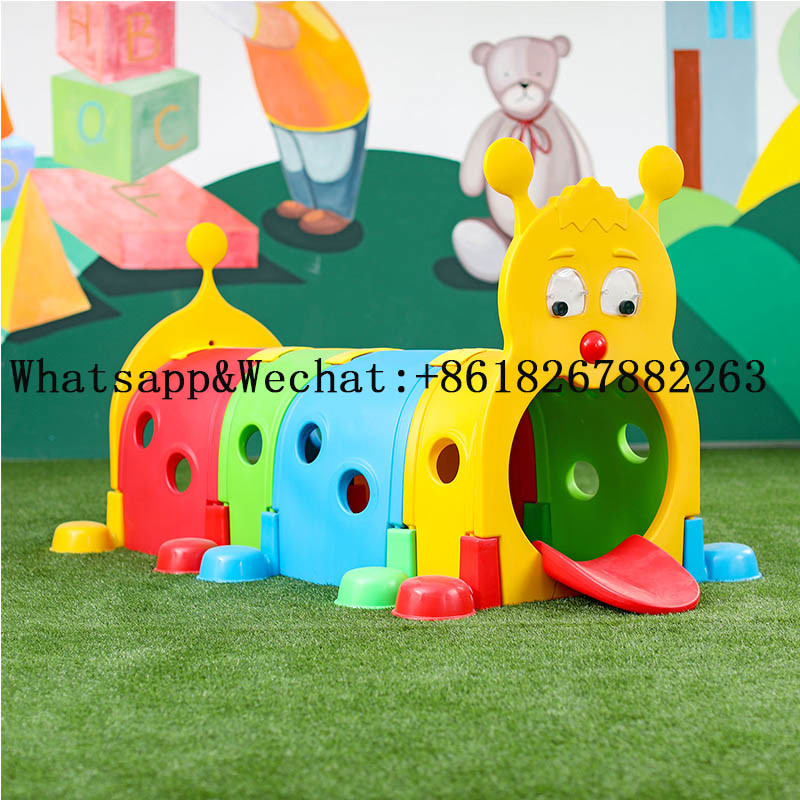 China Kindergarten Various Color Plastic Kids Play Tunnel Children Indoor Playground Equipment Caterpillars Elf Toy High Quality
