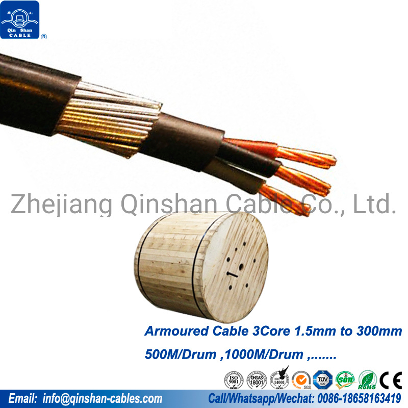 4mm 3 Core 50 Meter 6943X PVC Steel Wire Armoured Cable SWA Outdoor Cable