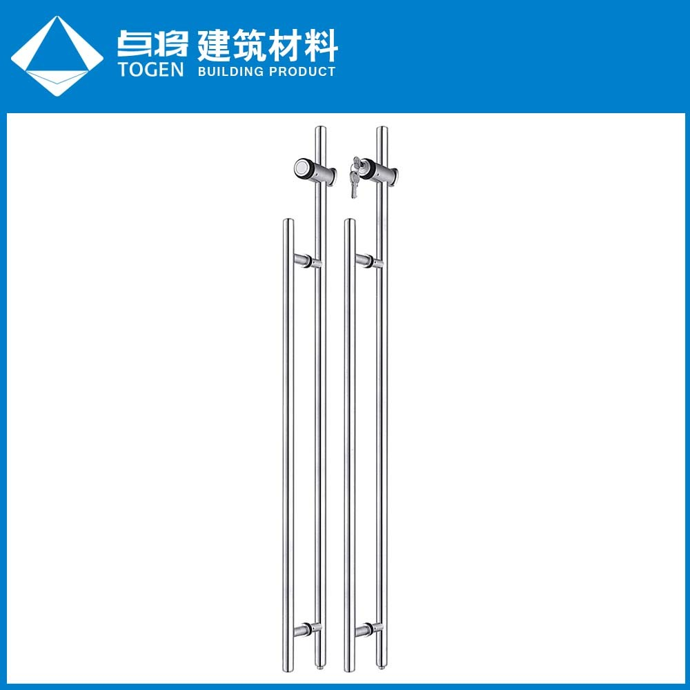 China Safety Stainless Steel Glass Door Pull Handle With Lock Photos