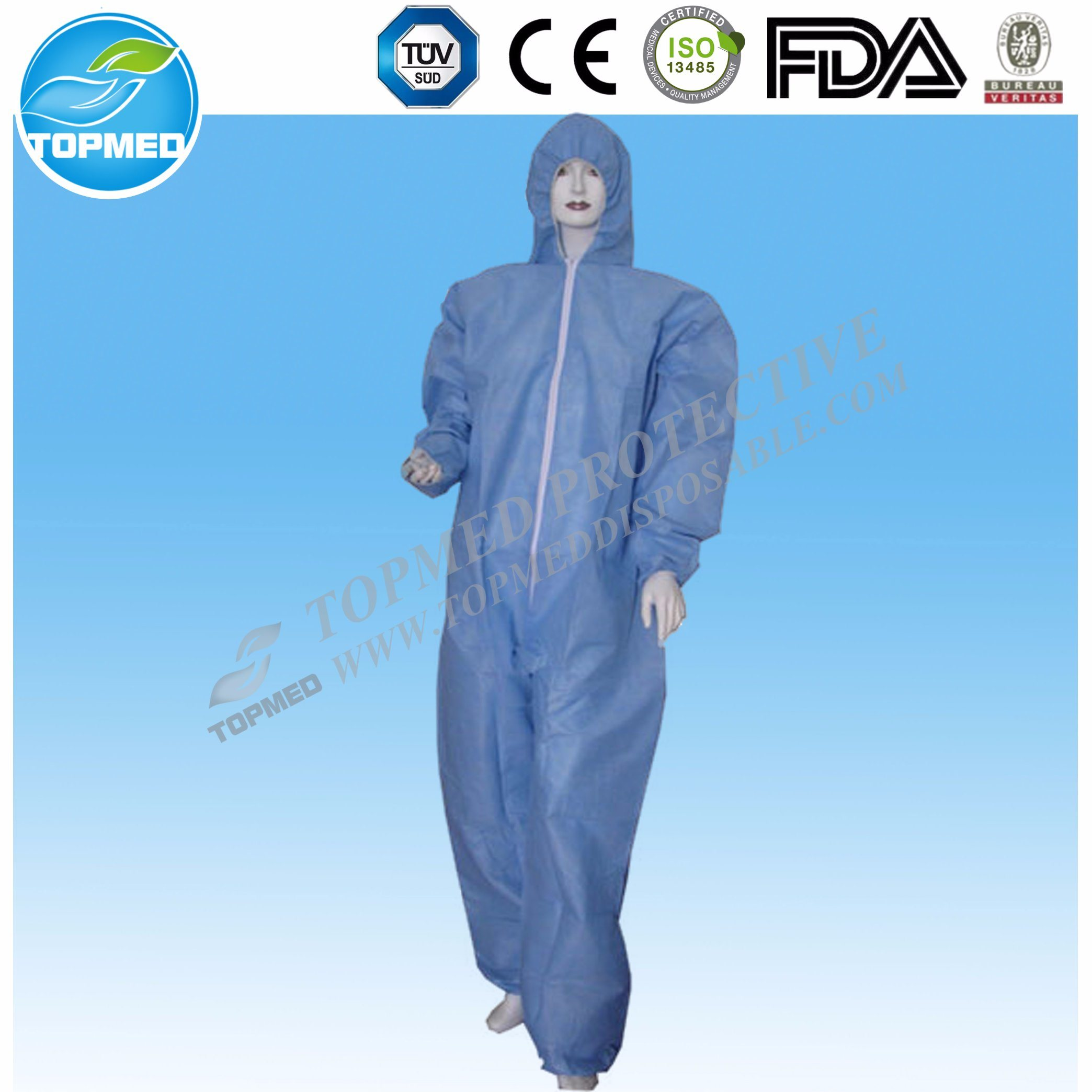 China Disposable Hazmat Suit, Protective Overalls with Hood
