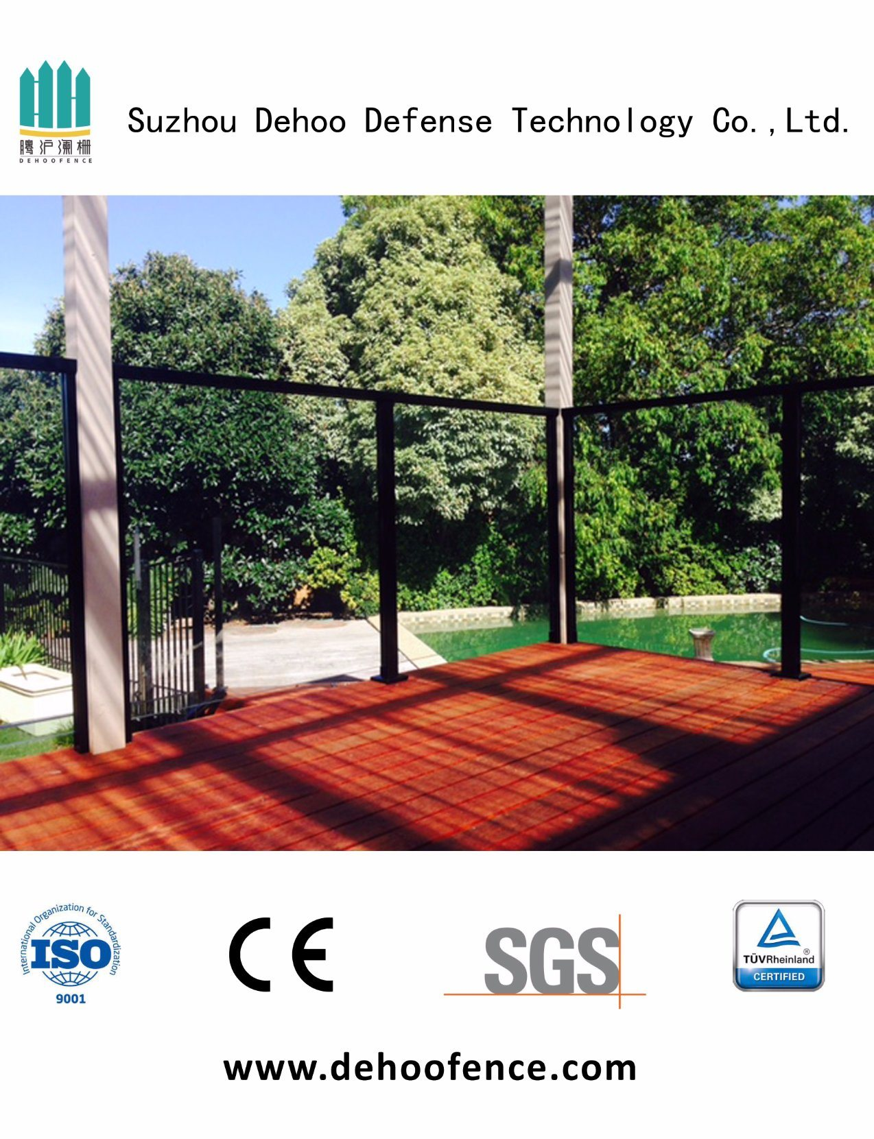 Customized Black Powder Coated Ornamental Glass Fence with High Quality