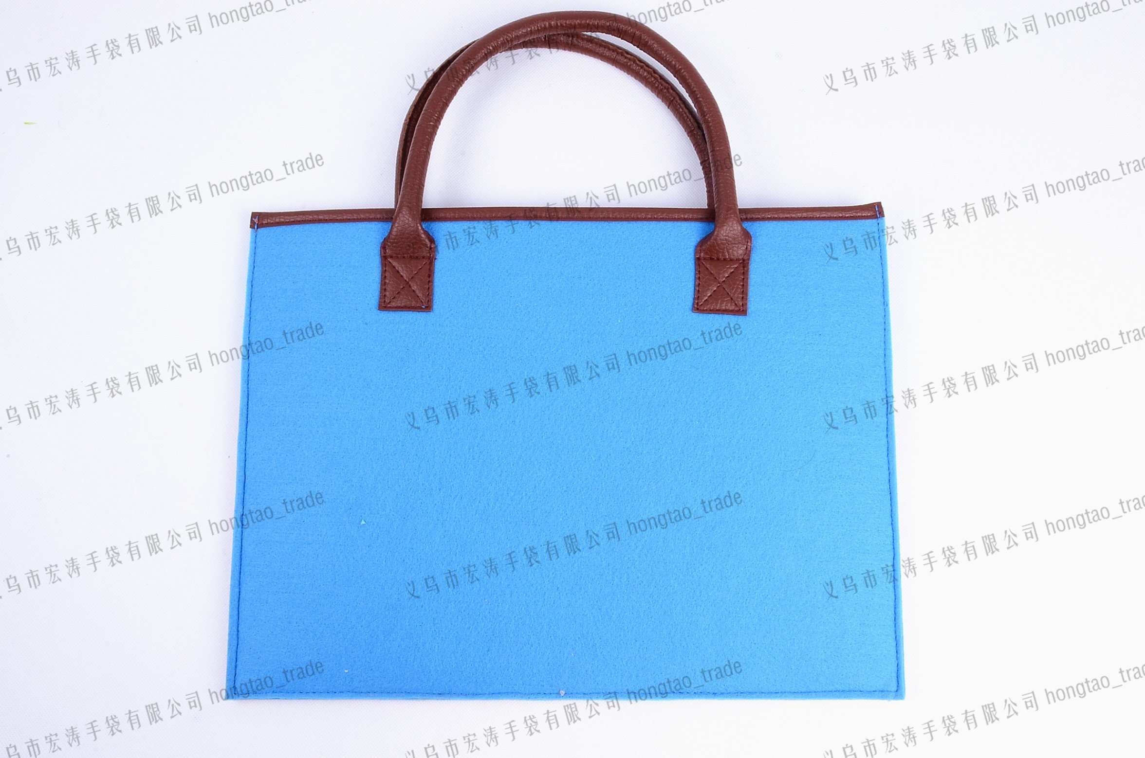 PU Hand Contrast Color Felt Handbag pictures & photos