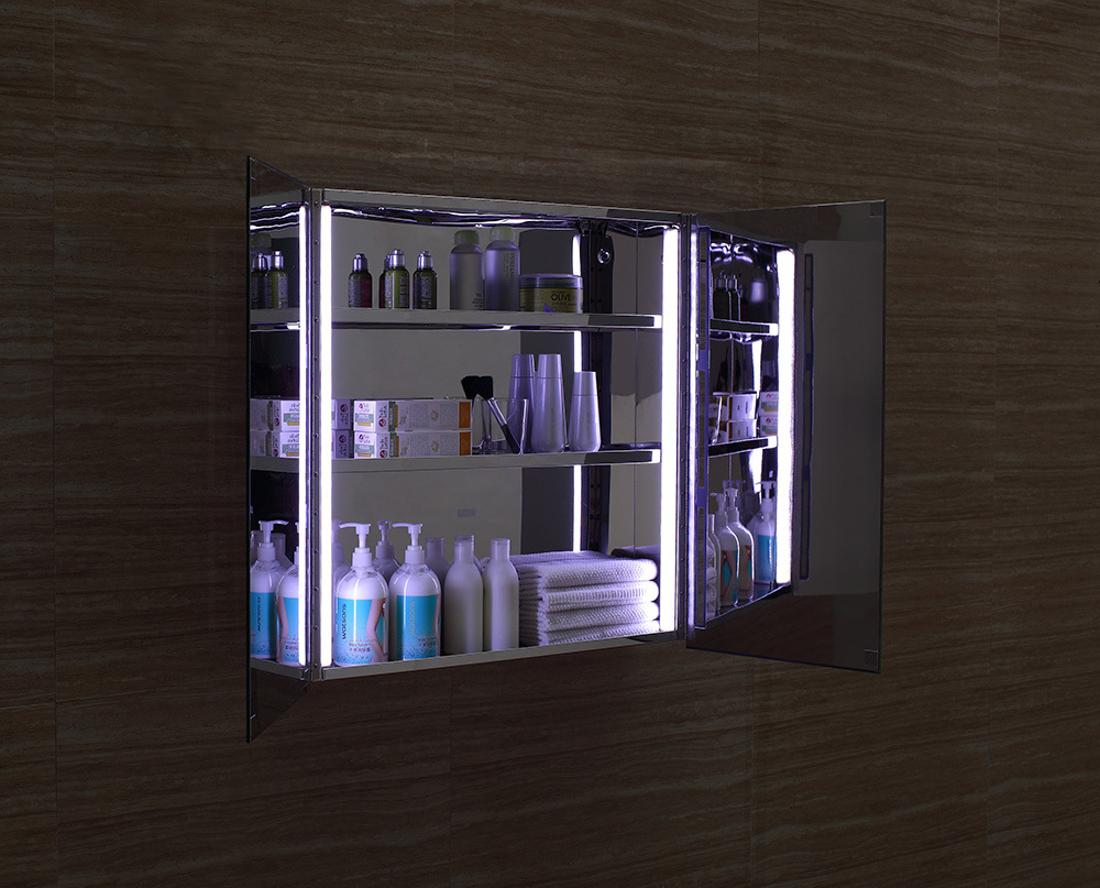 Superior Quality Stainless Steel Illuminated LED Mirror Storage Cabinet