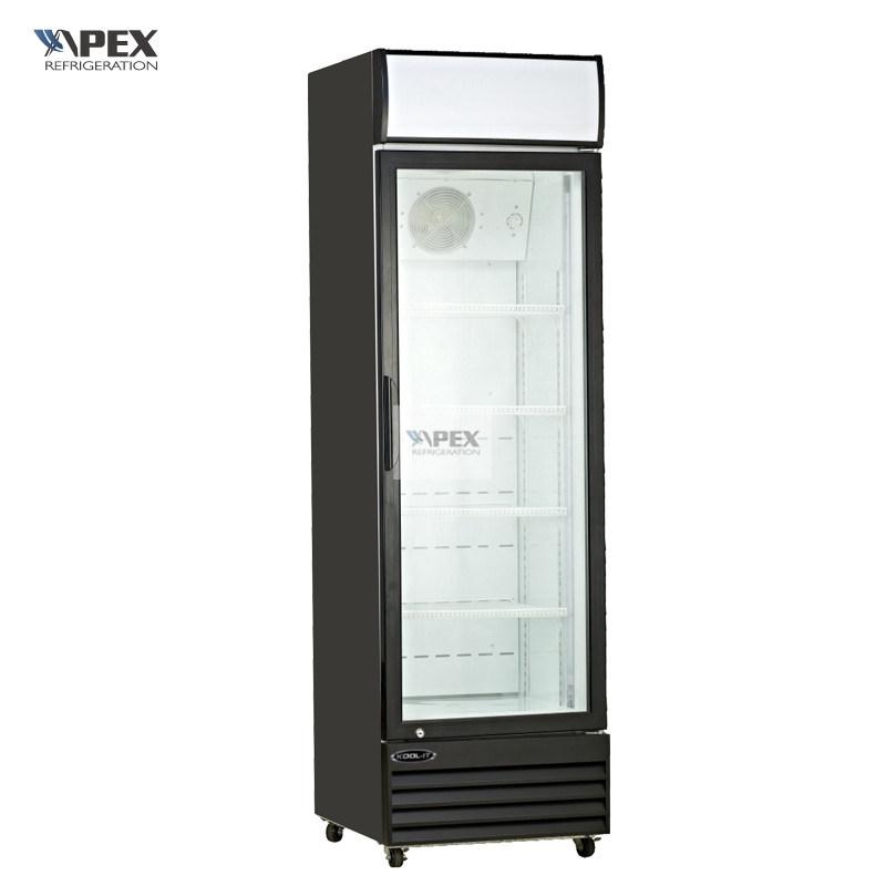 Supermarket Glass Door Vertical Beverage Cooler With Canopy