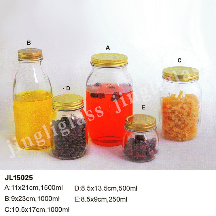 [Hot Item] Different Shapes and Sizes Glass Jar with Metal Cap