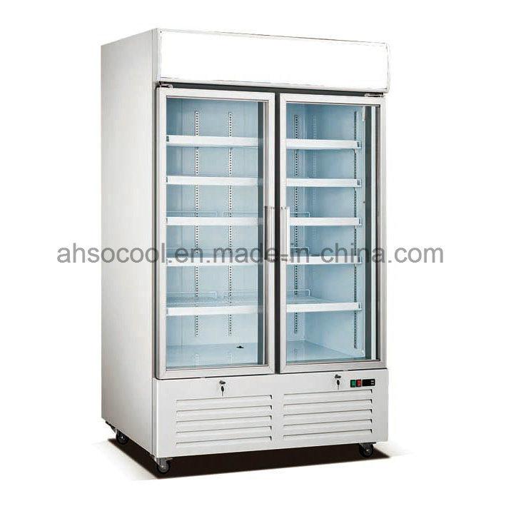 Upright Glass Door Freezer Double Commercial