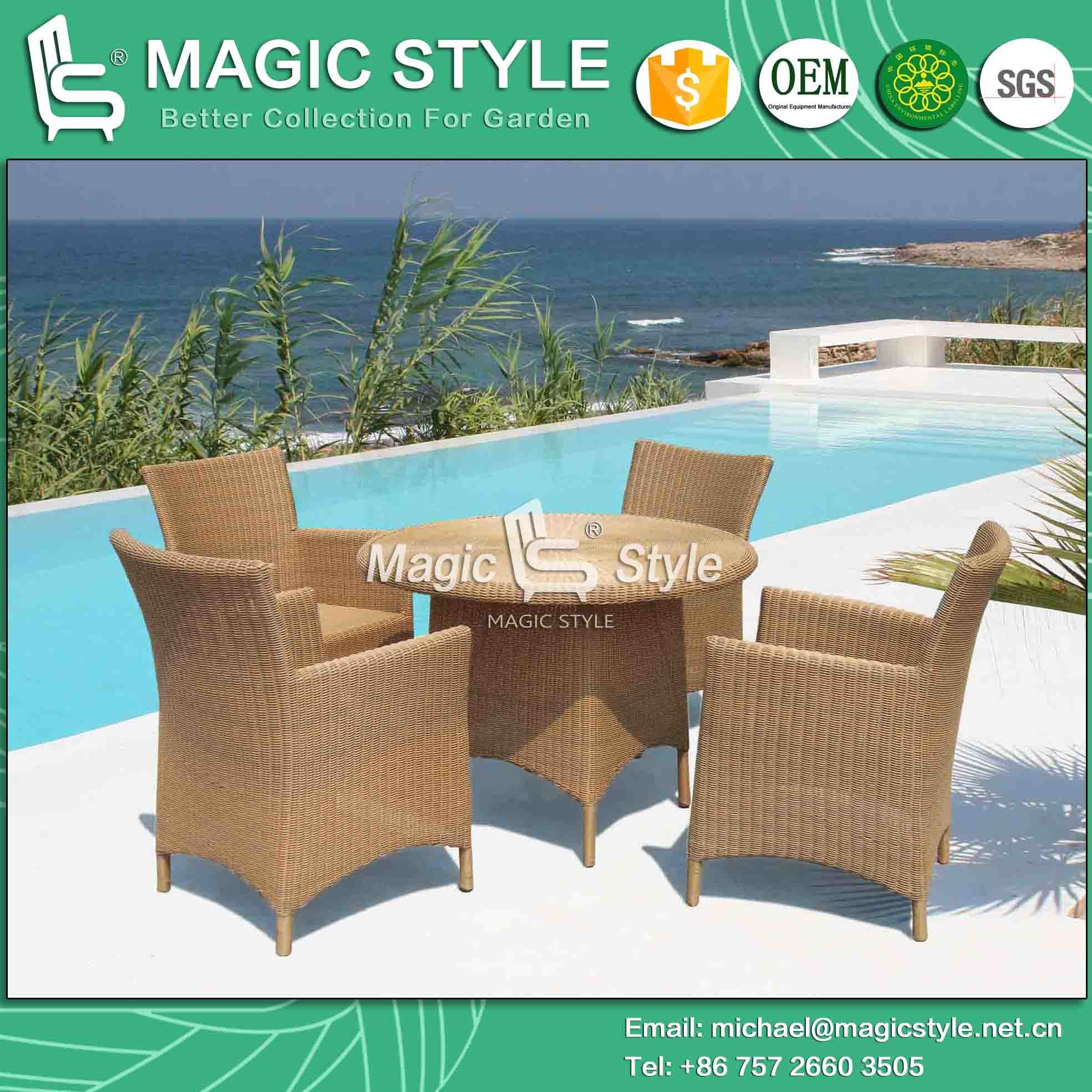 China 3 5mm Round Wicker Dining Set Round Table Wicker Chair