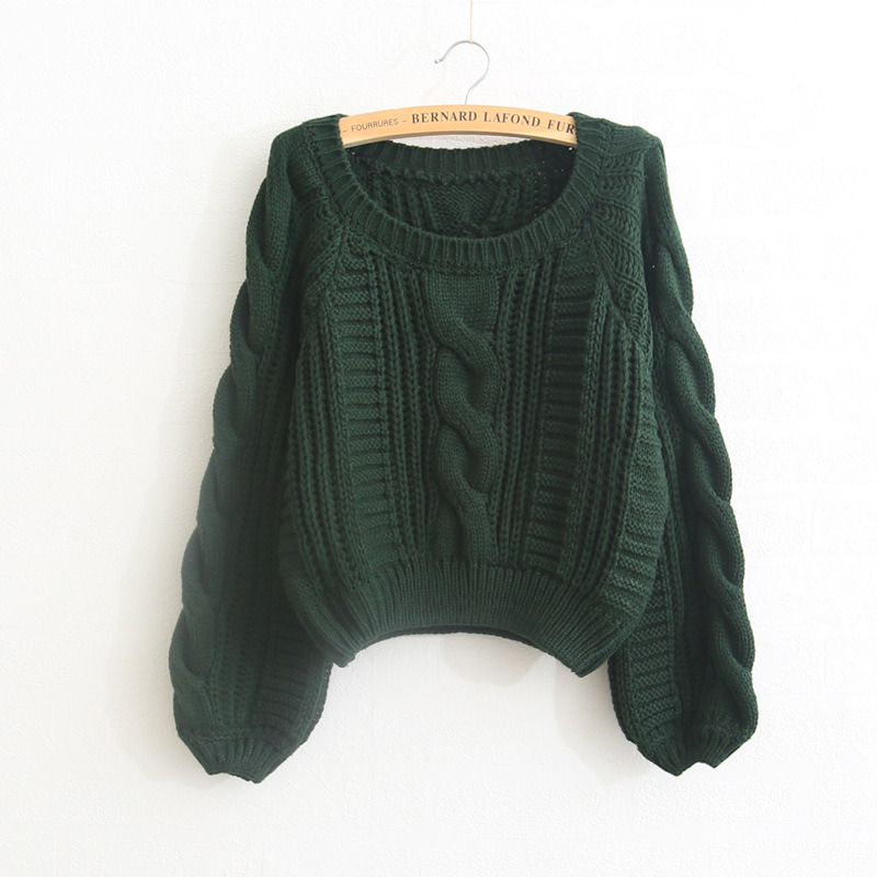 New Style Loose Short Round Neck Big Sleeves Pullover Acrylic Sweater Design  for Girl b59b8bbcf