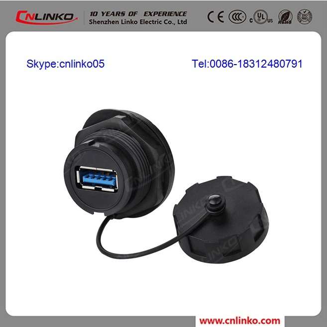 Waterproof USB3.0 Connector Panel Mount Two Sided USB Cable