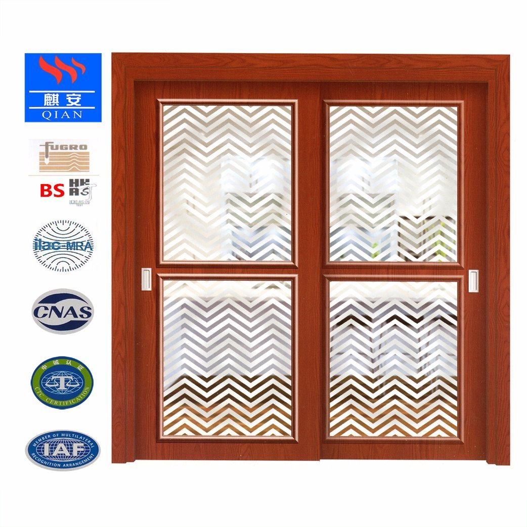 China Solid Wood Frame Kitchen Sliding Glass Door With High Quality