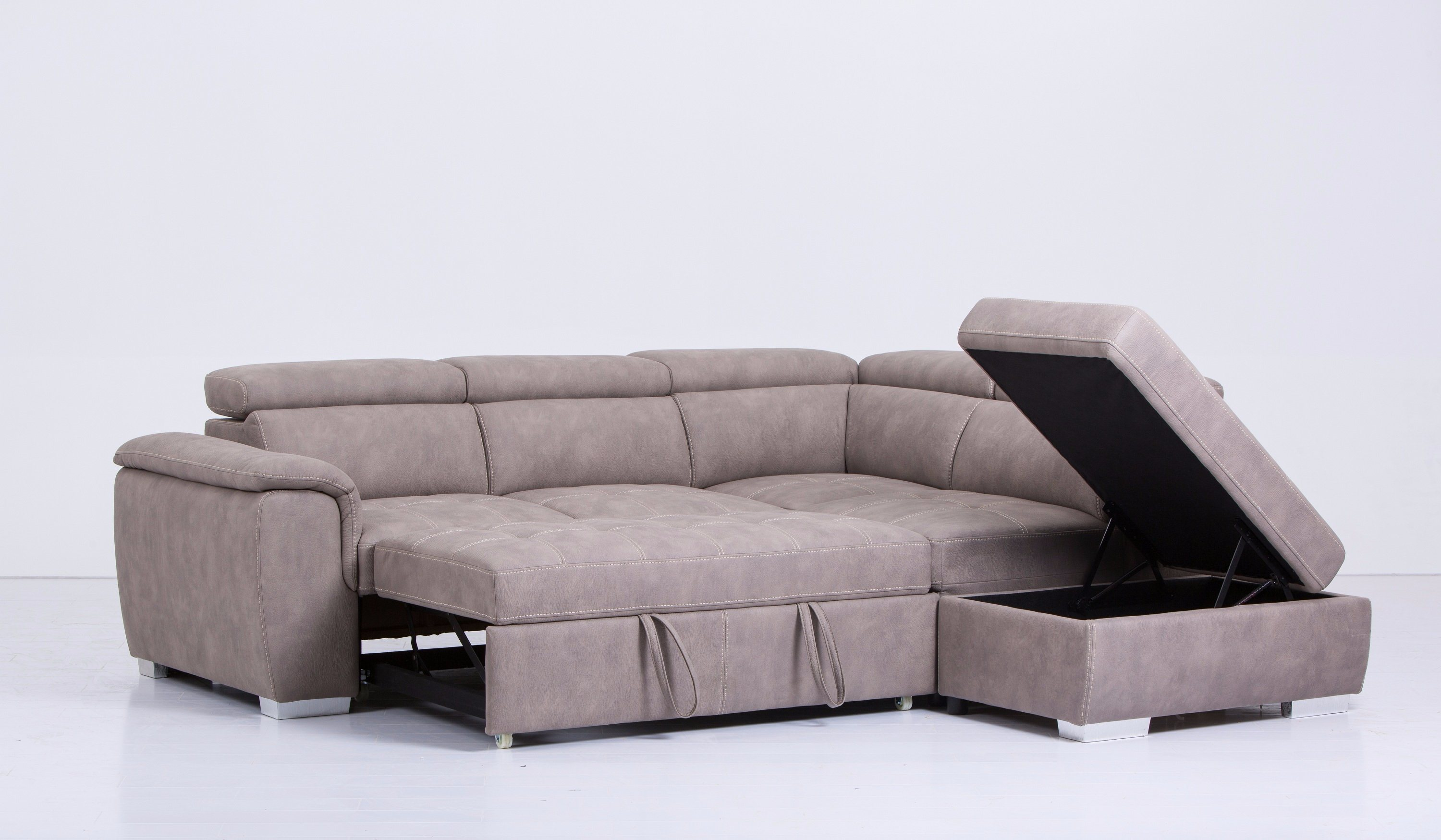 [Hot Item] L-Shape Sectional Leather Sofa Bed with Storage