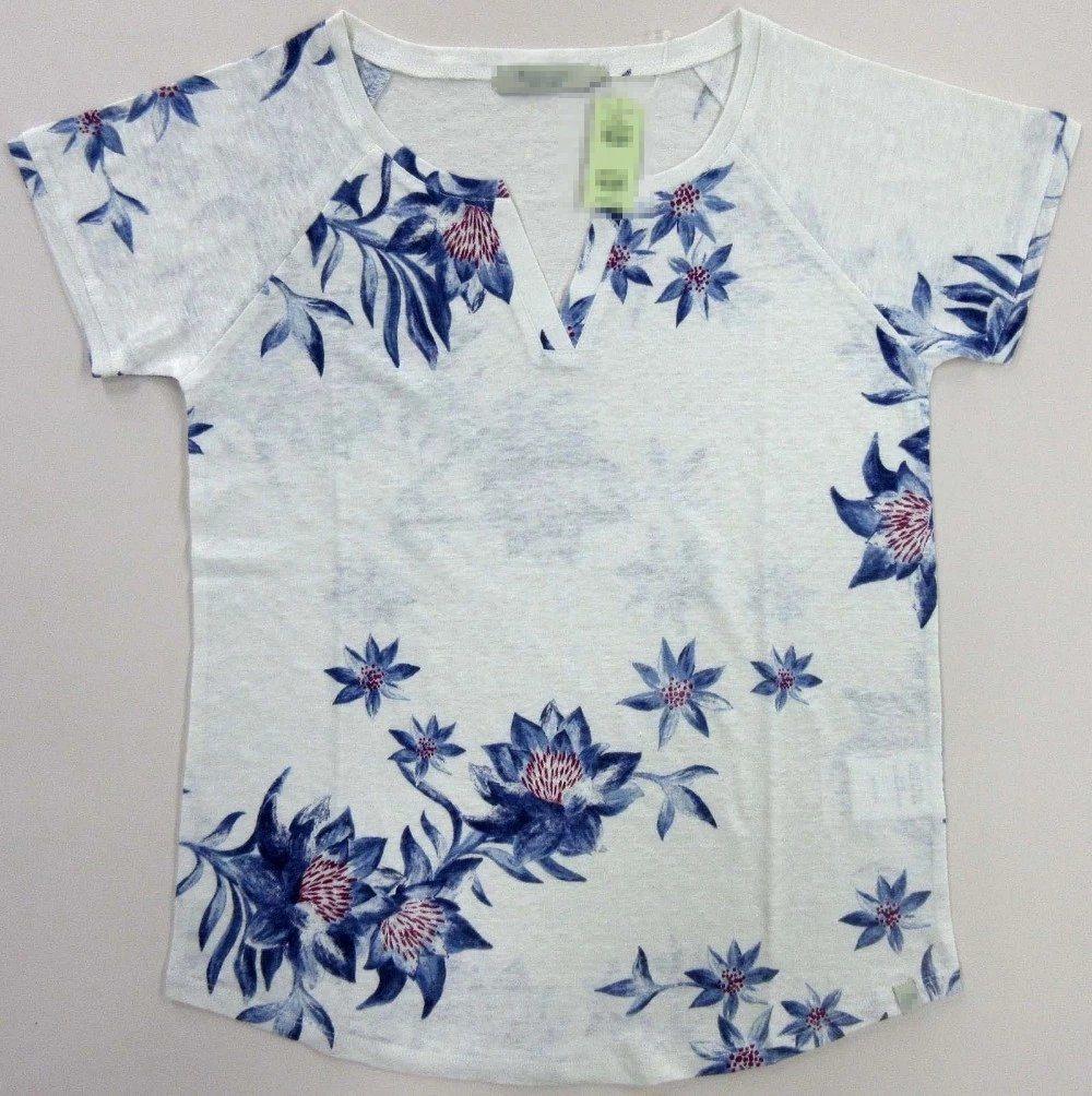 497701d0b0ad China Linen T Shirt for Women Pure Linen Printed Knitted Wear - China Linen  T-Shirt, Crew Neck Tee Shirt