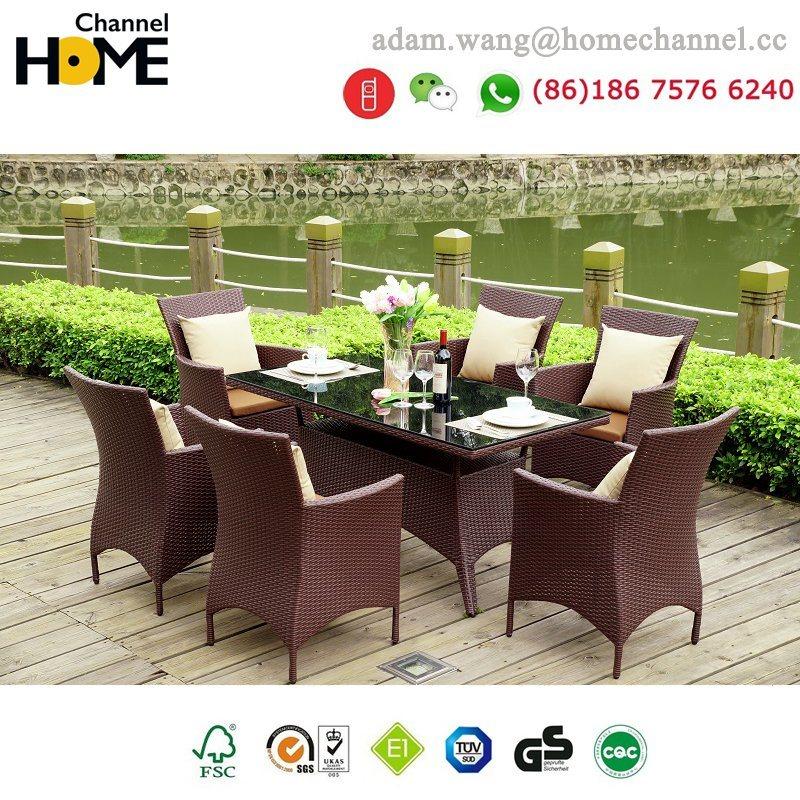 Ensemble de salle à manger d'extérieur de meubles de jardin en rotin de Chine 2018