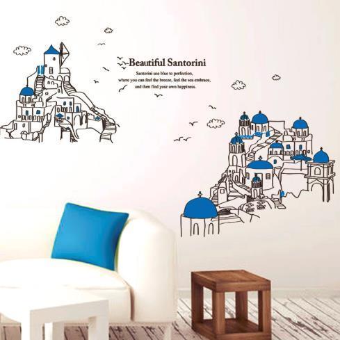 china removable pvc mediterranean santorini scenery wall sticker