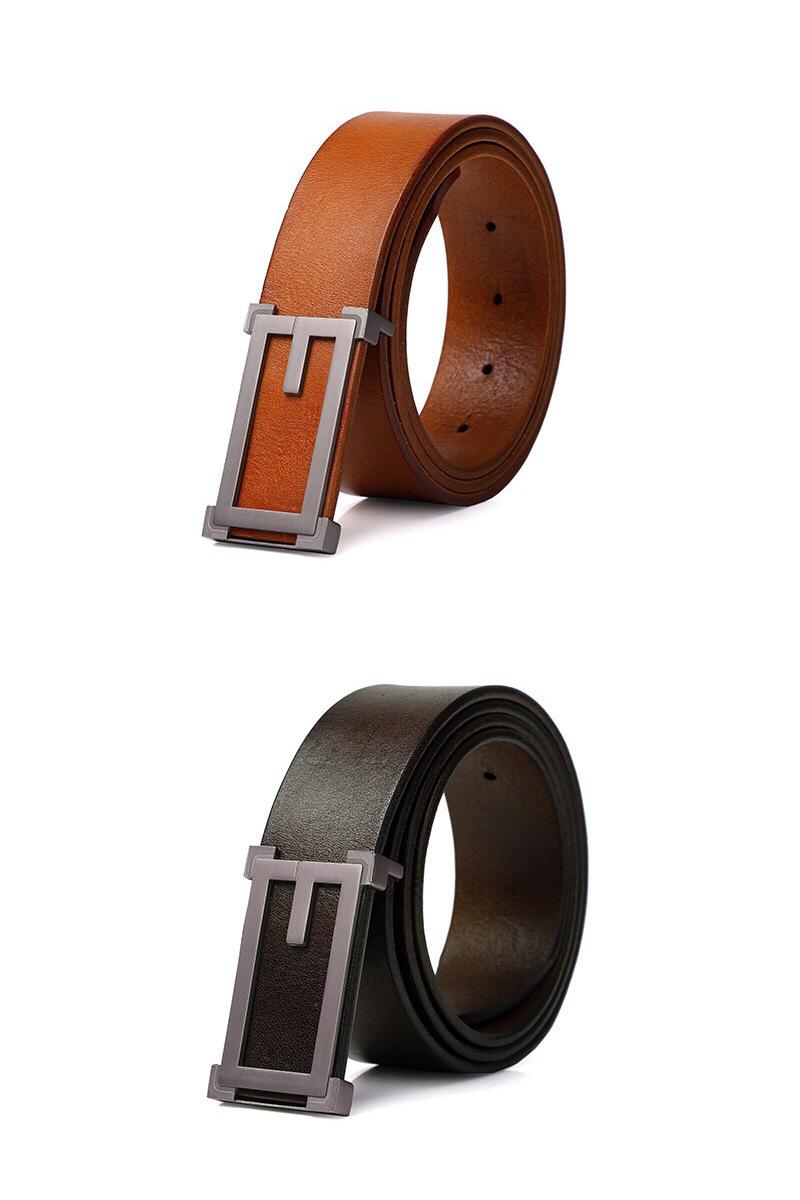Men Cowhide Belts Original Top Grain Leather Casual Black Pin Buckle Belt