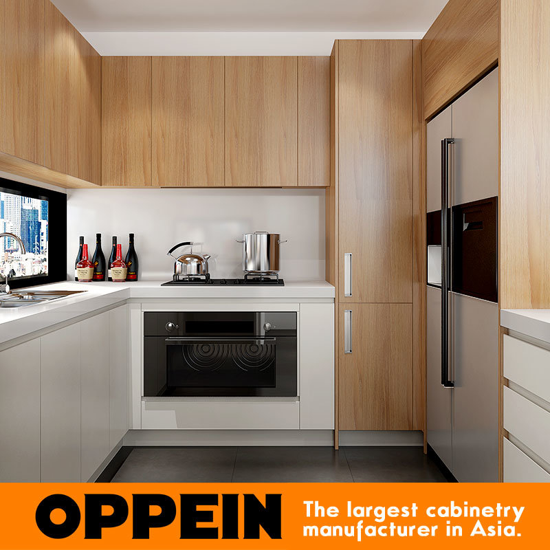 Melamine Kitchen Cabinets: China Modern White Matte Lacquer And Wood Grain Melamine