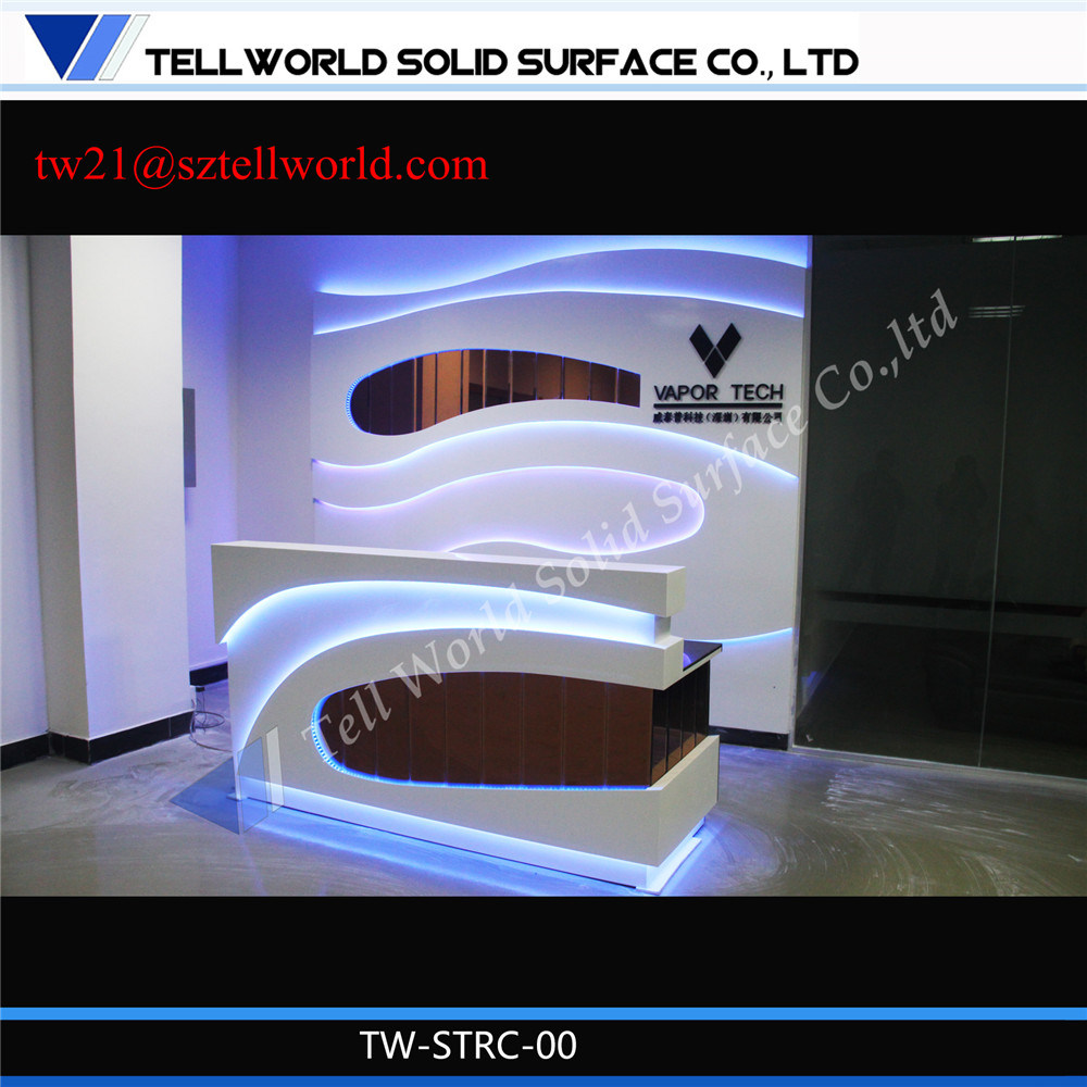 Fancy Beauty Curved Small Hair Salon White Reception Desk With Lights
