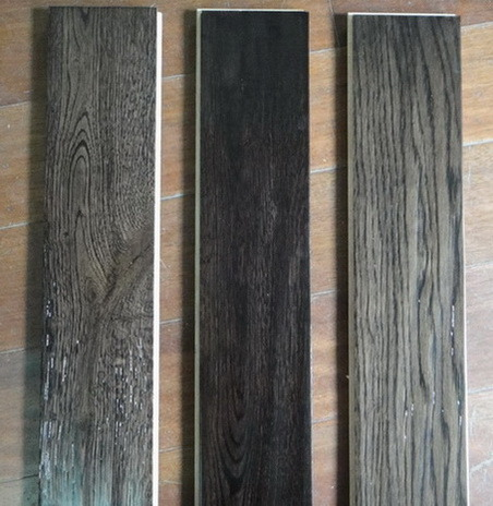 China Oak Handscraped Wood Flooring Stained Ebony Dark