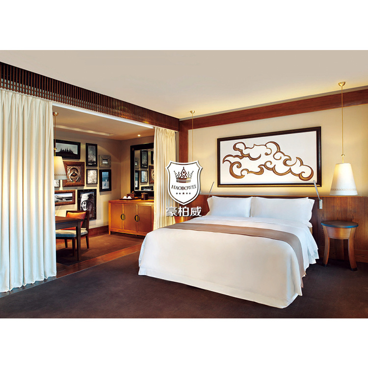 China Antique Timber Teak Wood Bedroom Furniture For Hotel Deluxe