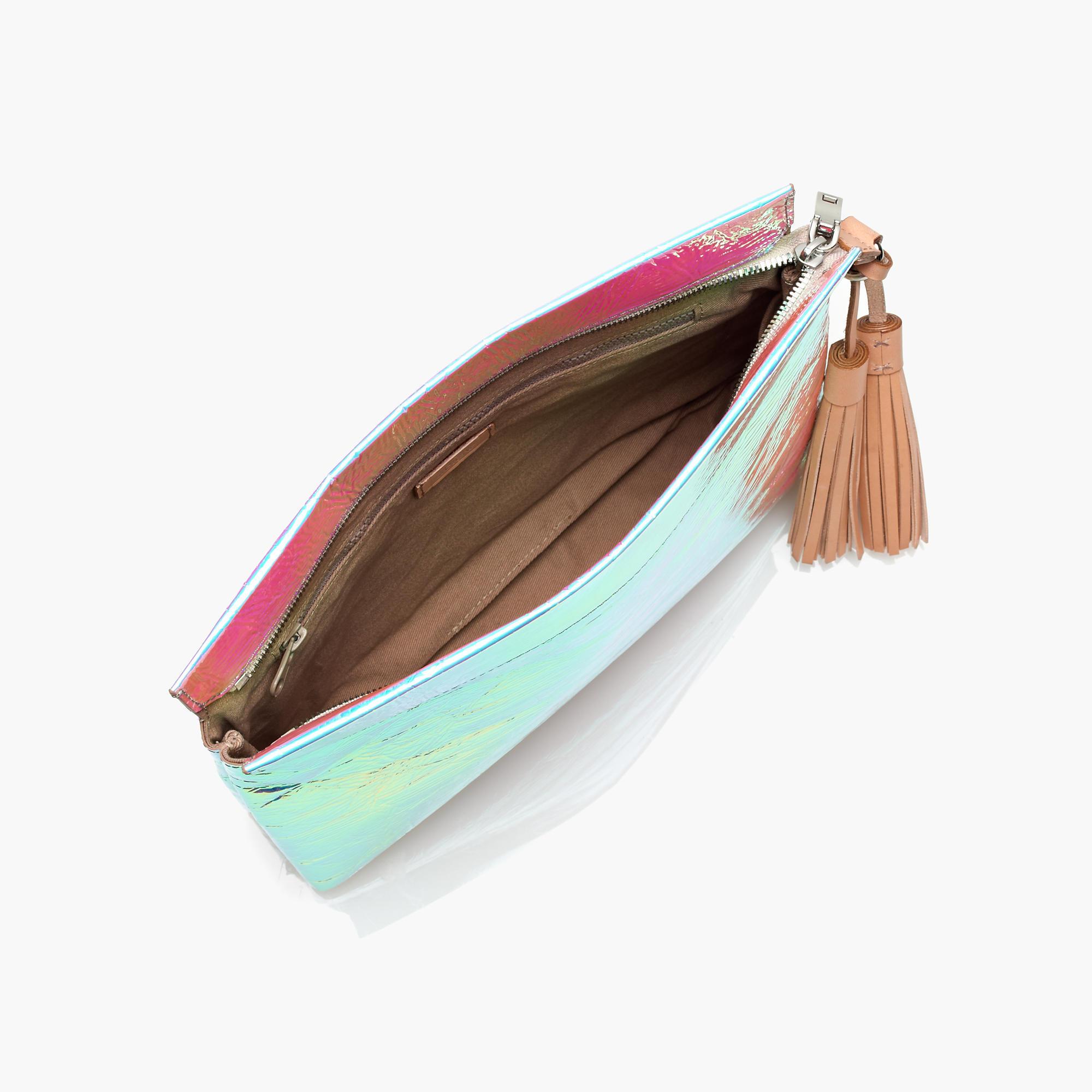 Fashionable Holographic White Pu Clutch Bag Iridescent Pouch Handbag