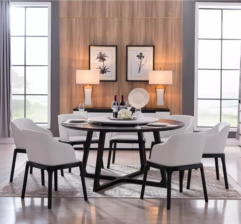 Italian Simple Design 8 Seater Solid Wood Dining Room Furniture Round Dining Table With Rotating Centre China Wooden Dining Table Dining Room Table Made In China Com