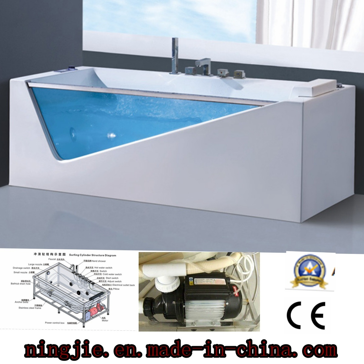 China Acrylic Sanitary Ware LED Bubble Whirpool Massage Bath Tub ...