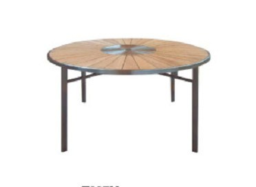 Hot Item Teak Wood Round Dining Table Outdoor Furniture With Metal Legs
