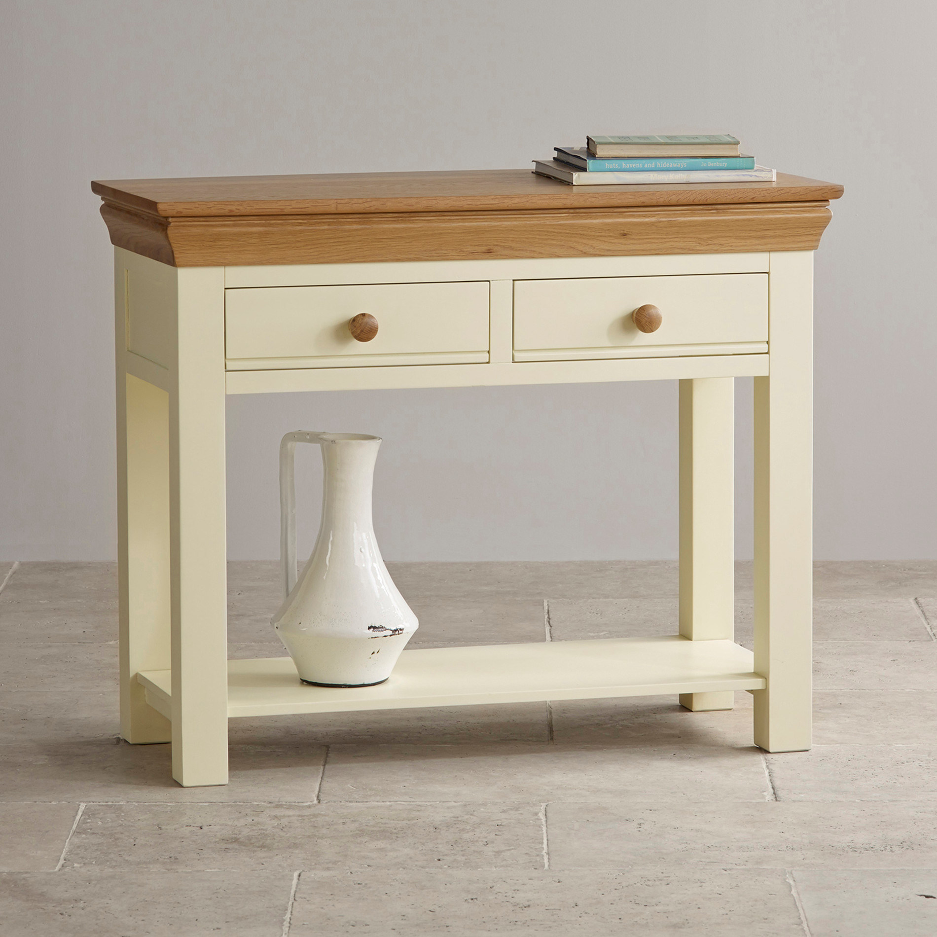 Prime Hot Item Painted White Oak Solid Wood Console Table Beutiful Home Inspiration Xortanetmahrainfo