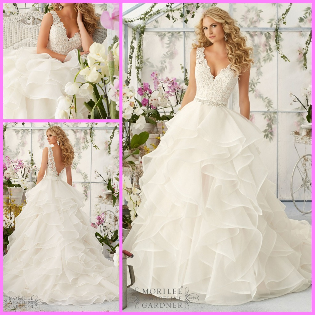 Wedding Gown With Ruffles: China Cascading Ruffles Bridal Ball Gown V-Neck Lace