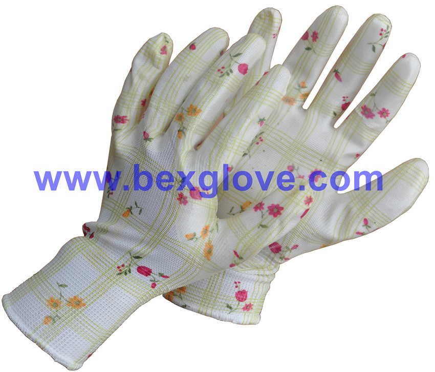 Nitrile Coating, Transparent, 13 Gauge Polyester Liner, Flora Patterns Safety Gloves