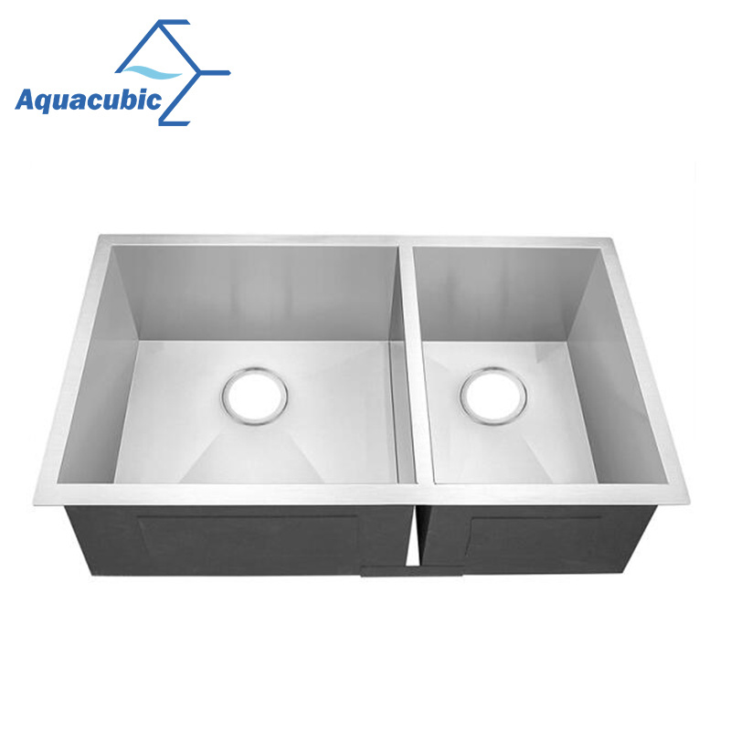 Upc Double Bowl Stainless Steel Handmade Kitchen Sink Acs 3322a2