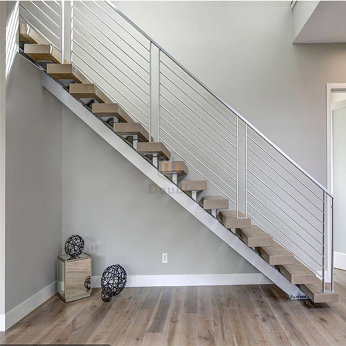 Wooden Ladder With Stainless Steel Railing / Wood Staircase