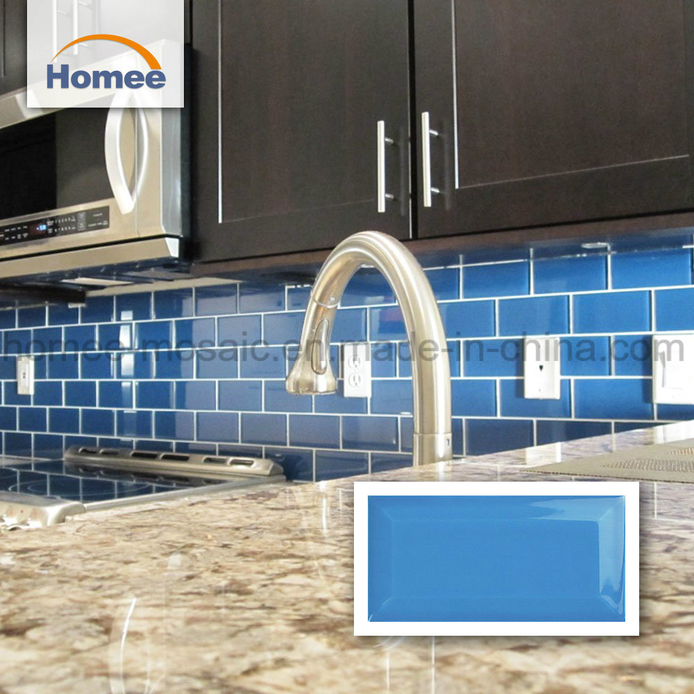 - China Brick Shape Kitchen Blue Backsplash Price Ceramic Mosaic