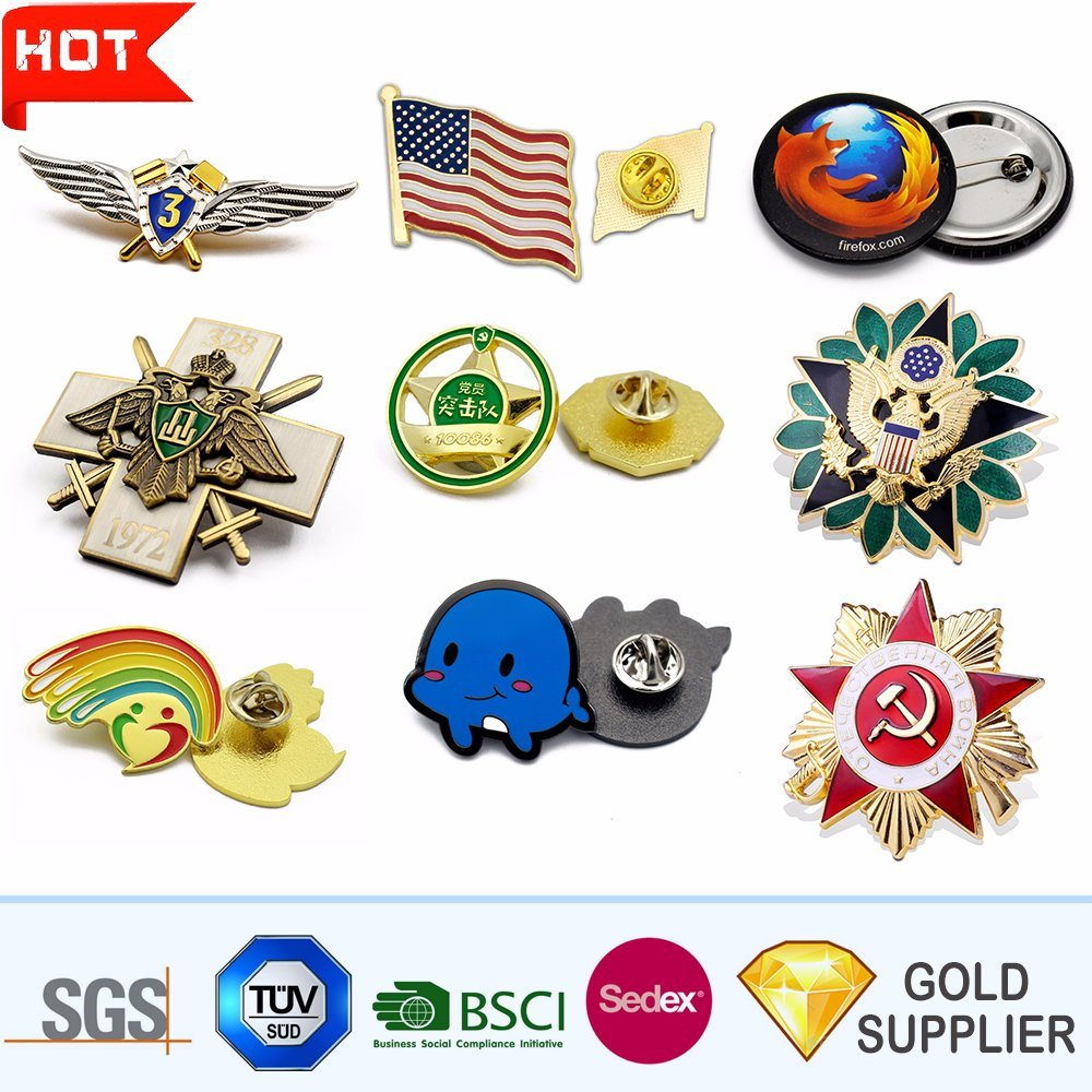 No MOQ Promotion Custom Logo Fashion 3D Metal Lapel Pin Police Military Army Car Tin Button Soft Hard Enamel Name Gold Blank Emblem Badge for Promotional Gift