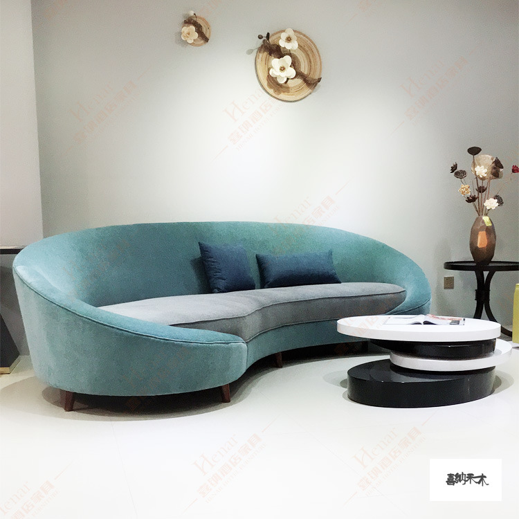 [Hot Item] Design Living Room Half Moon Sofa Shape Green Velvet Upholstered  Modern Hotel Furniture