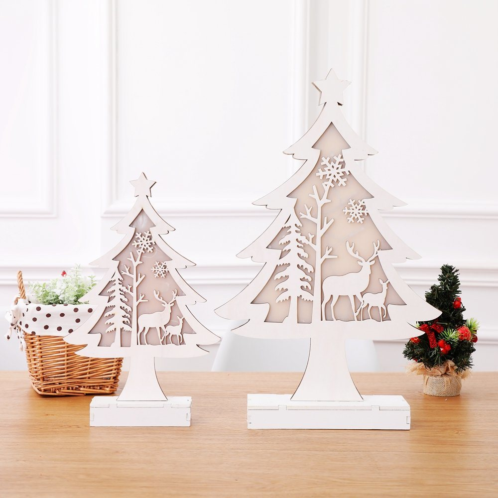 Wood Christmas Decorations.Hot Item Christmas Decorations Lighting Wooden Christmas Tree Decoration Hotel Department Store Window Decoration Lighting Tree Decoration