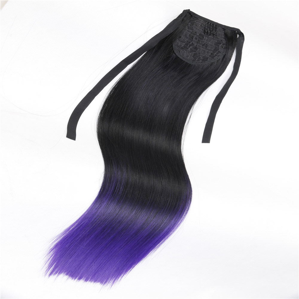 China Dip Dyed Two Tone Pony Tail Wigs Synthetic Hair Wig Hair