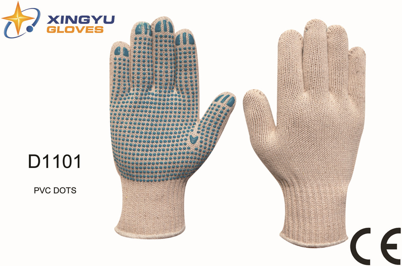 T/C Shell PVC Dots Safety Work Glove (D1101)