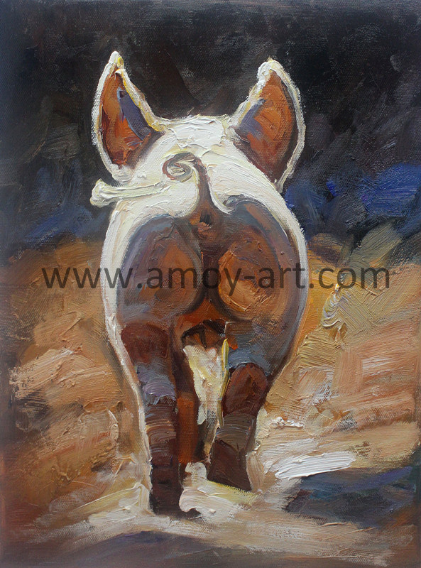 China Modern Decorative Painting Pig Walking Away Canvas Wall Art For Decoration Oil Paintings Animal
