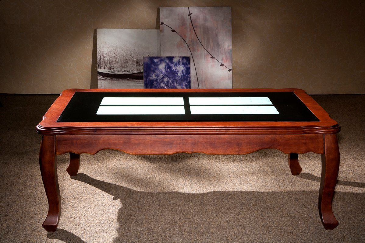 - China Popular Simple Steady Wooden Coffee Table Glass Table