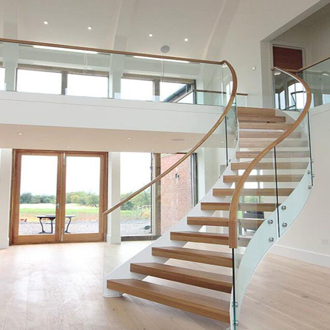 China Lobby Staircase Design Wood Glass Curved Staircase China Oak