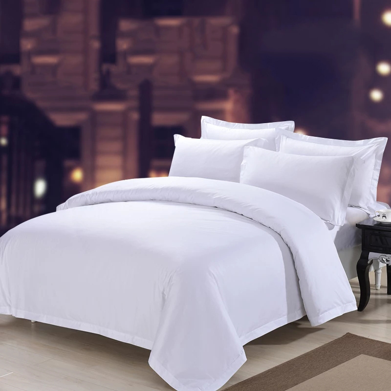 China Hotel Collections 40s Polycotton Plain White Satin Bed Sheet   China Fitted  Bed Sheet, Wedding Bed Sheet